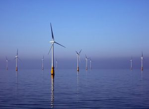 Turbines in the Barrow Offshore Wind project off Walney Island in the Irish Sea.