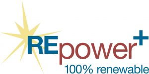REpower plus logo, 100% renewable electricity