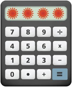 Black calculator with white buttons and suns in the display