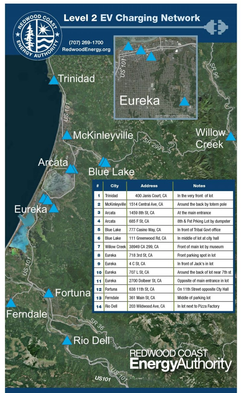 Map of RCEA Level 2 Charging Stations