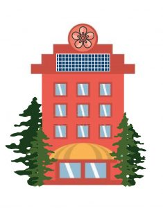 A cartoon image of an appartment building with solar panels on the roof