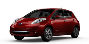 Red Nissan Leaf