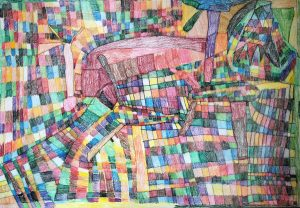 a mosaic of colored squares and wind turbines
