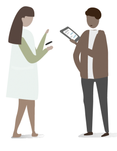 Two clip art individuals in conversation