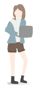 Clip art of a standing faceless young person holding a laptop shorts
