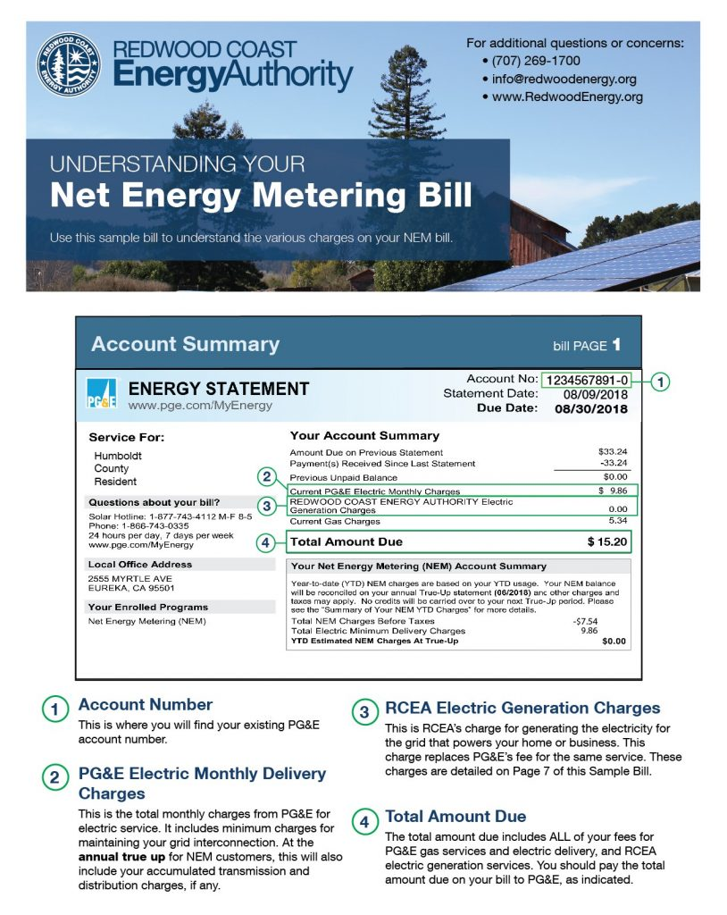 poster for how to read your Net Energy Metering bill