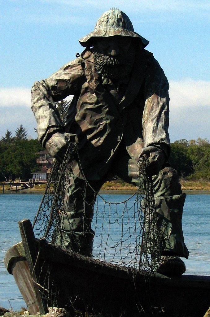 close up of fisherman statue