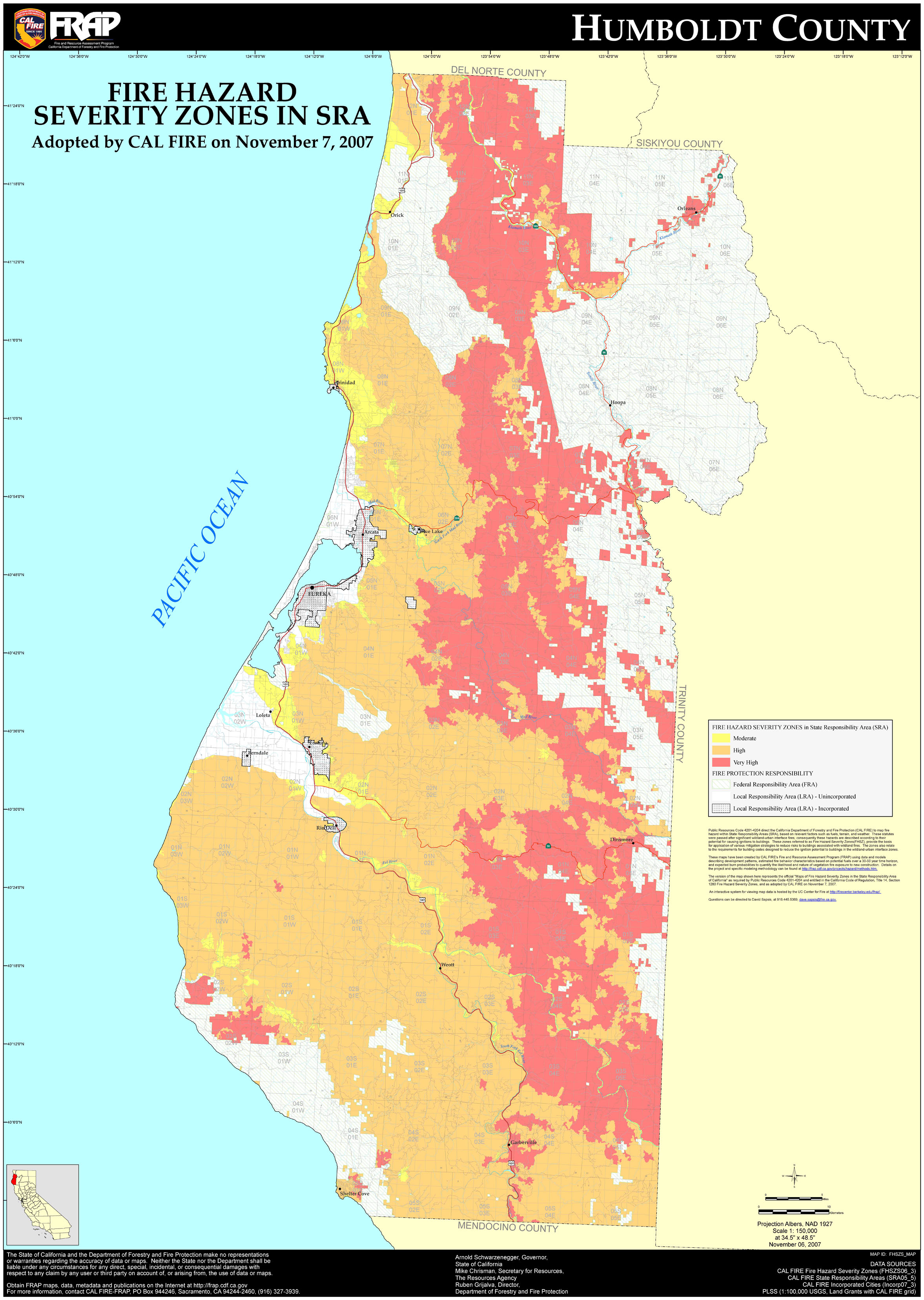 Map of Fire Hazard Zones in Humboldt County