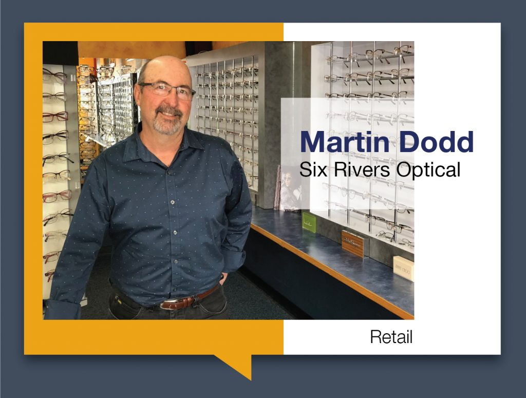 Martin Dodd standing in Six Rivers Optical