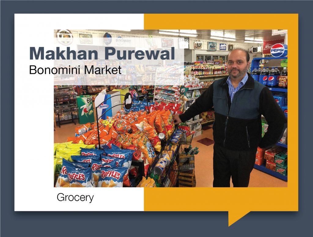 Makhan Purewal standing in Bonomini Market