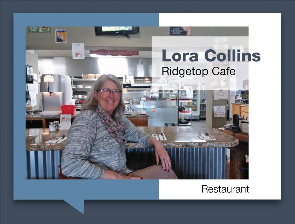 Lora Collins sitting at diner bar in Ridgetop Cafe