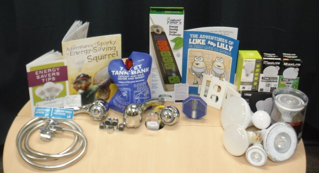 RCEA Residential Kit including various items such as lightbulbs and powerstrips