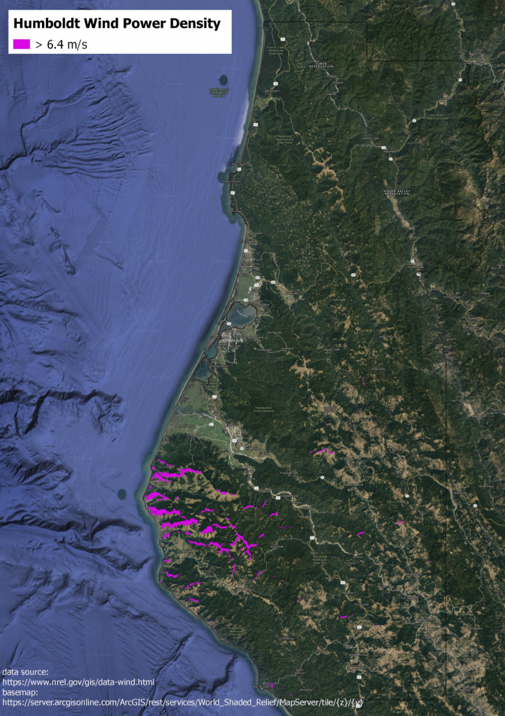 Humboldt Onshore Wind Map