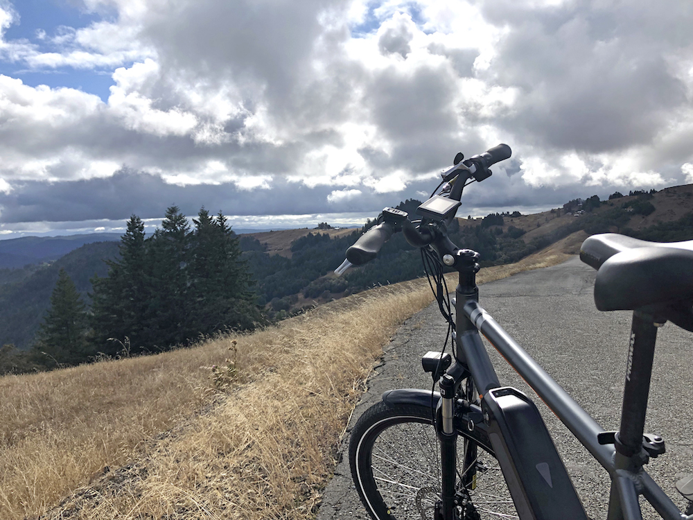 Ebike in front of a hill side
