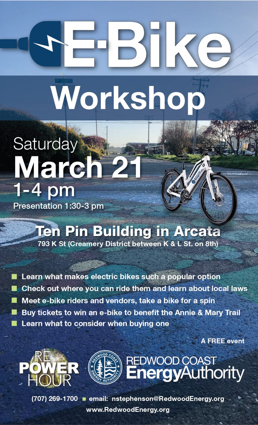 Electric bike workshop flyer featuring a bike in front of the creamery district