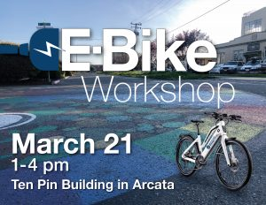 E-Bike Workshop flyer with photo of a white bike in lower right corner