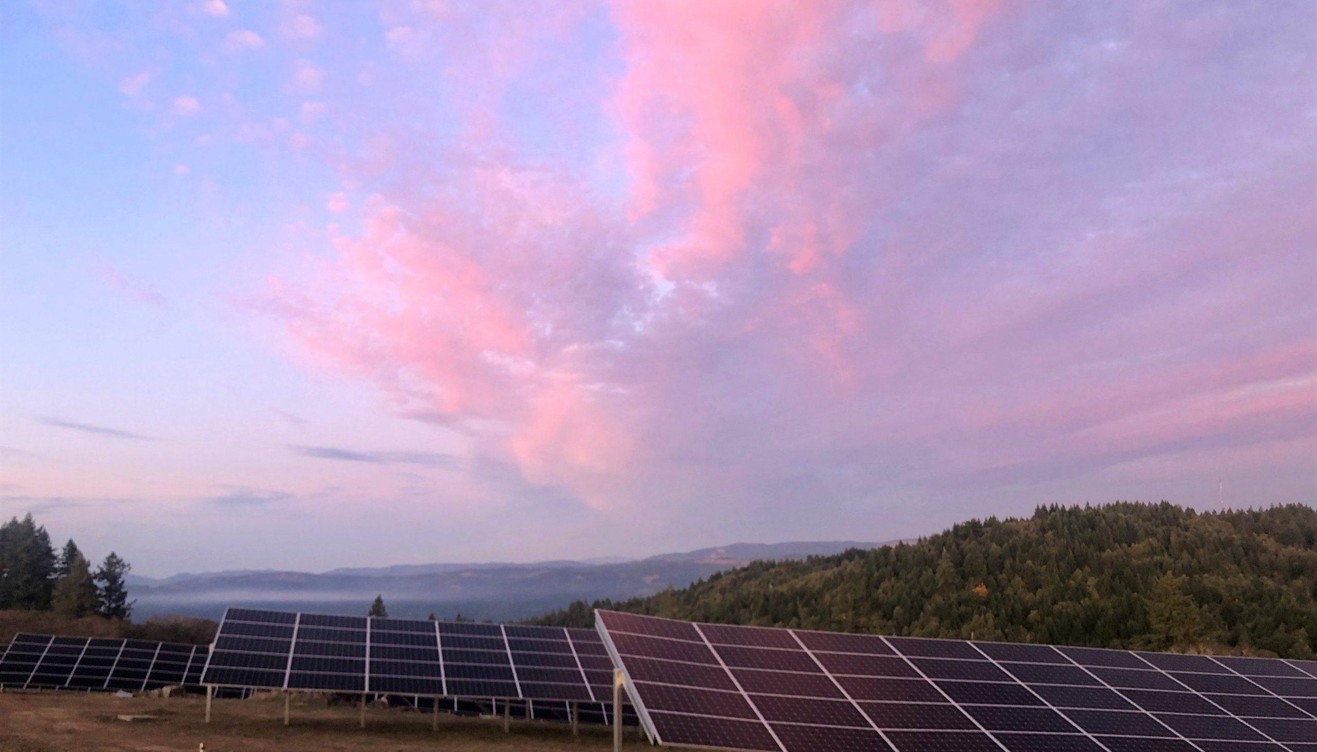 KEET solar panels in Kneeland at sunset