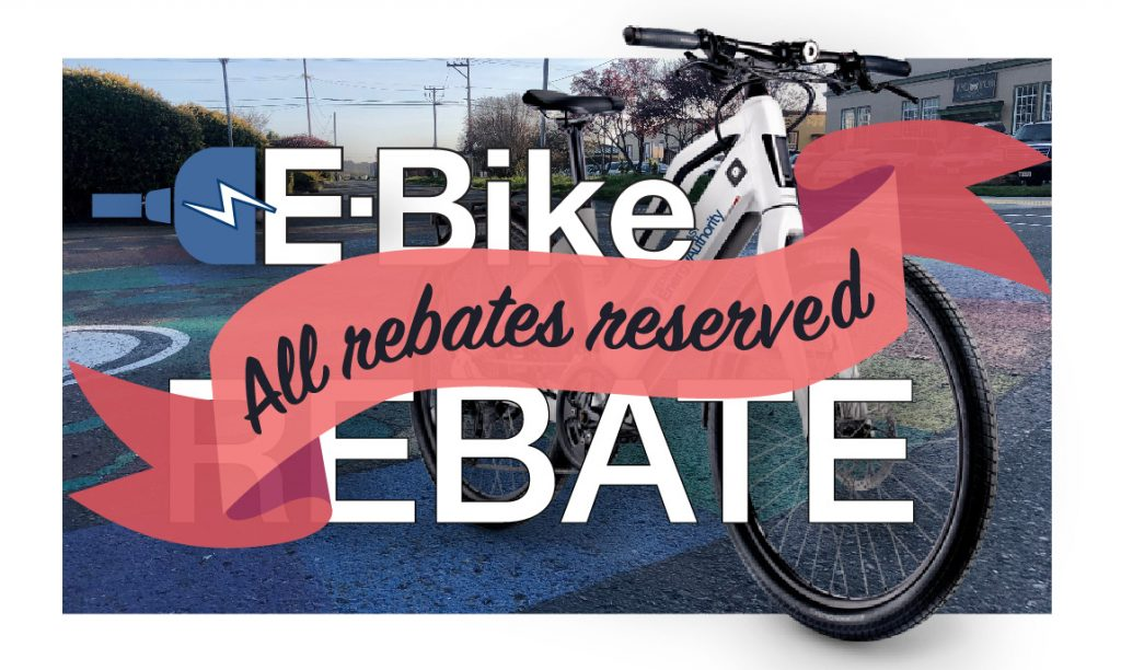 an e-bike next to words saying that all the e-bike rebate funding has been reserved.