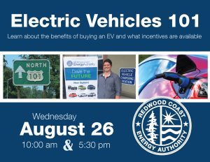 Electric vehicle webinar flyer for August 26 2020