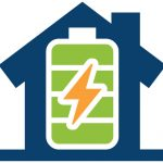 blue clip art house with a green battery inside