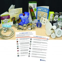 table with lights and RCEA energy saving check list