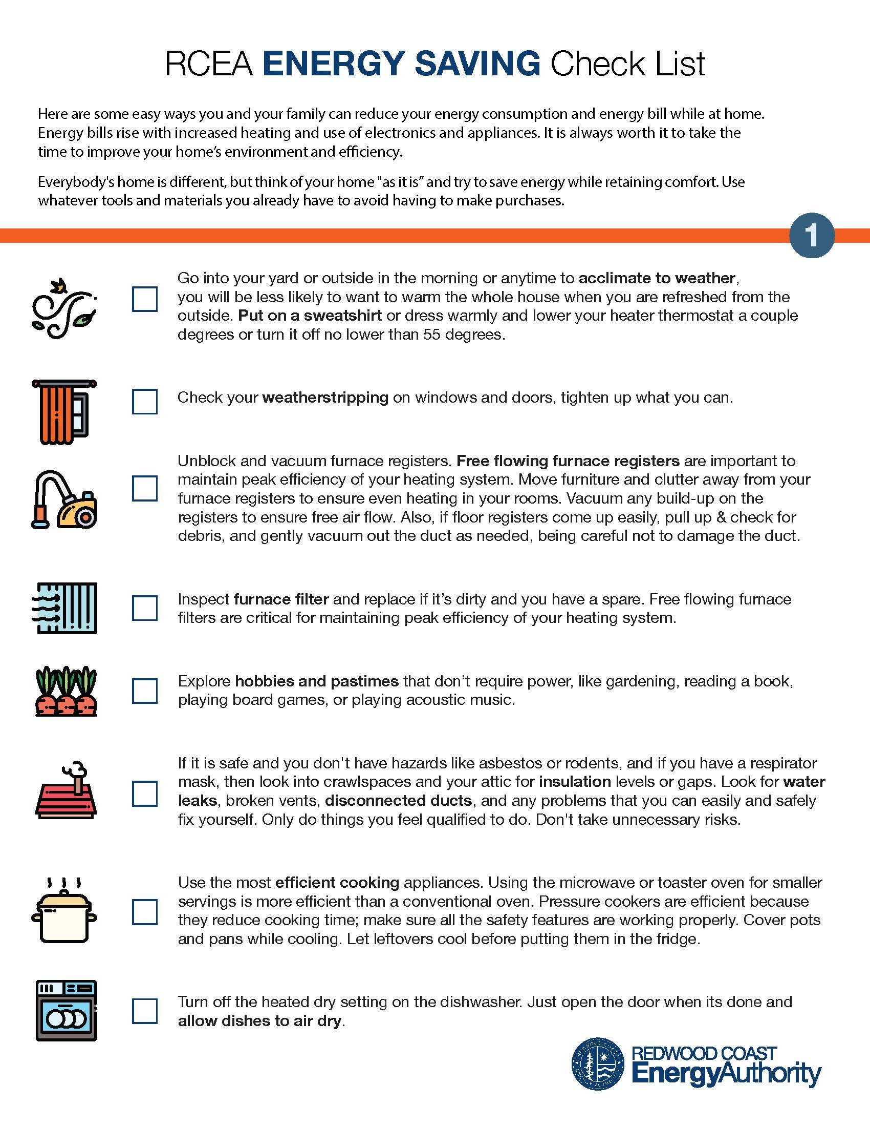 RCEA energy saving check list page 1