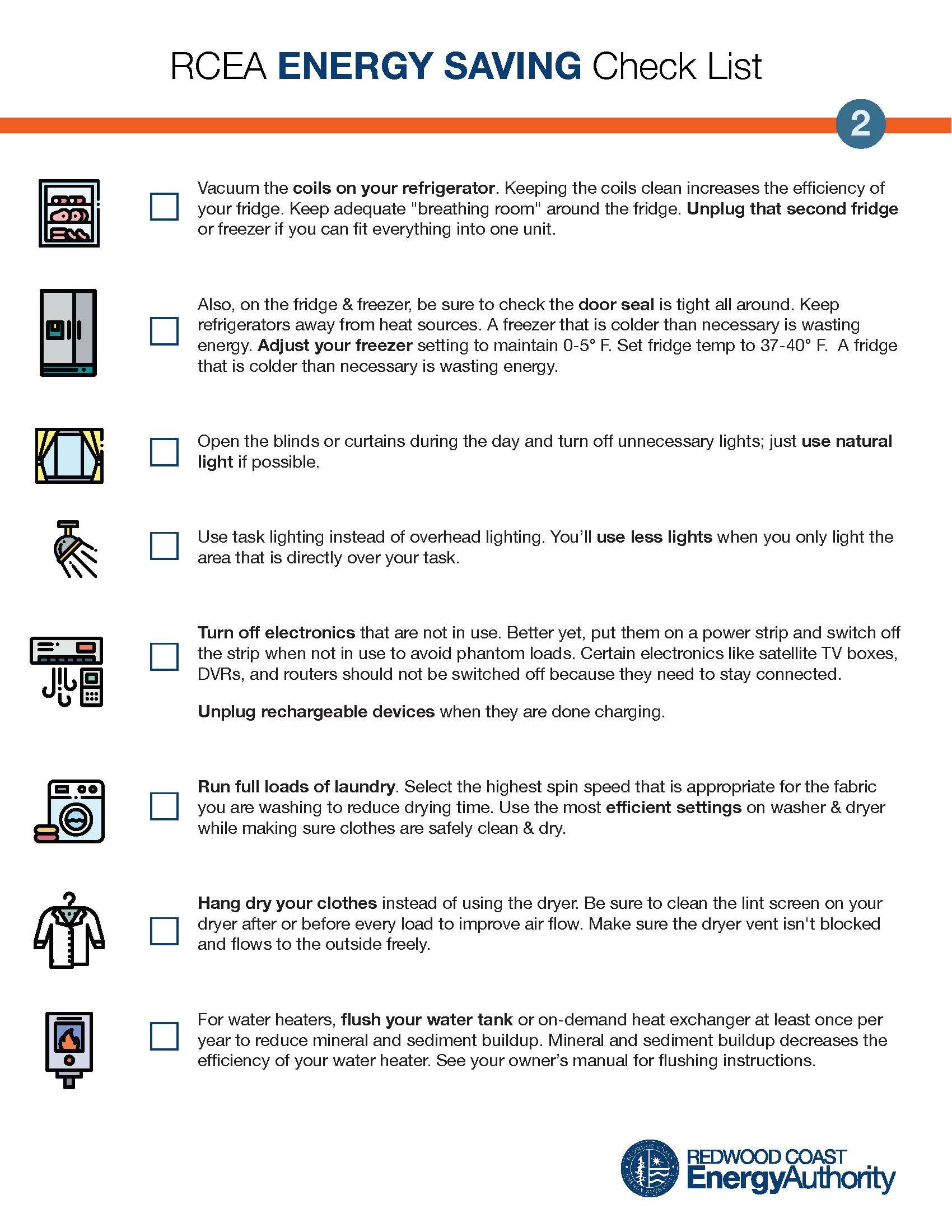 RCEA energy saving check list page 2