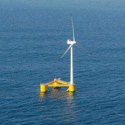 single offshore wind turbine in an ocean