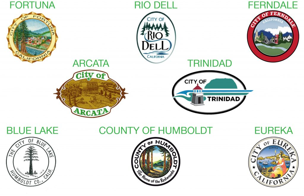 Eight Humboldt of County city seals that are partnered with RCEA