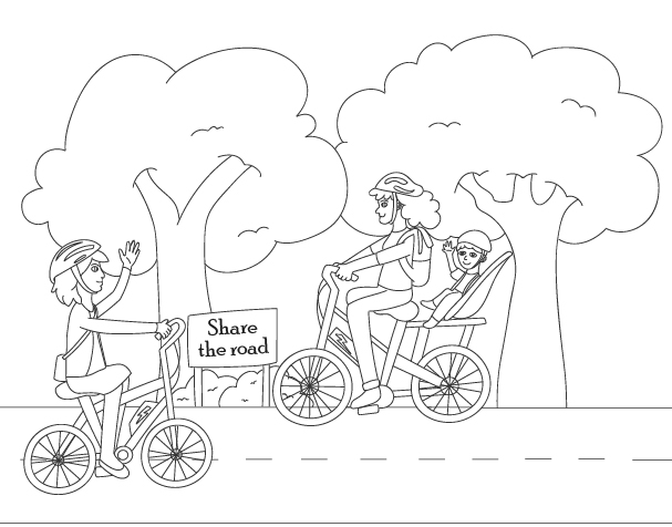 Drawing of 2 people riding their e-bikes