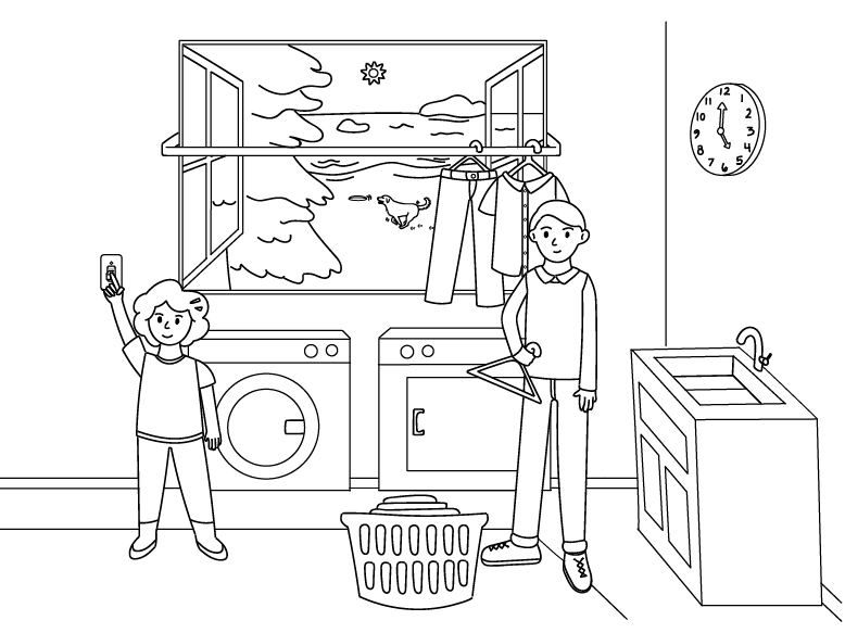 Drawing of two people standing in a laundry room hanging clothes on a clothesline at 5 p.m. with running by in a window outside
