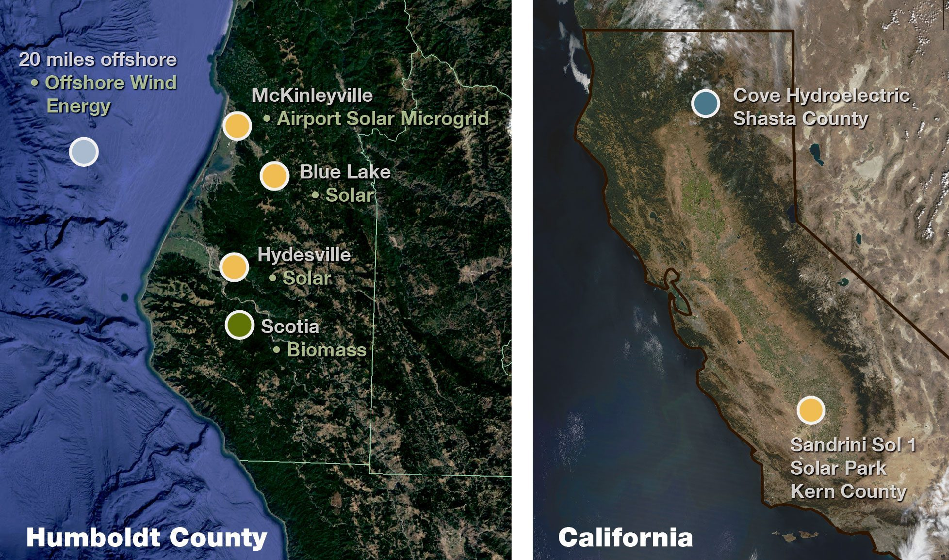 map of the places RCEA sources energy from in Humboldt and California