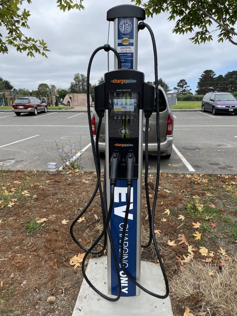 Close up RCEA's electric vehicle charging station in Arcata