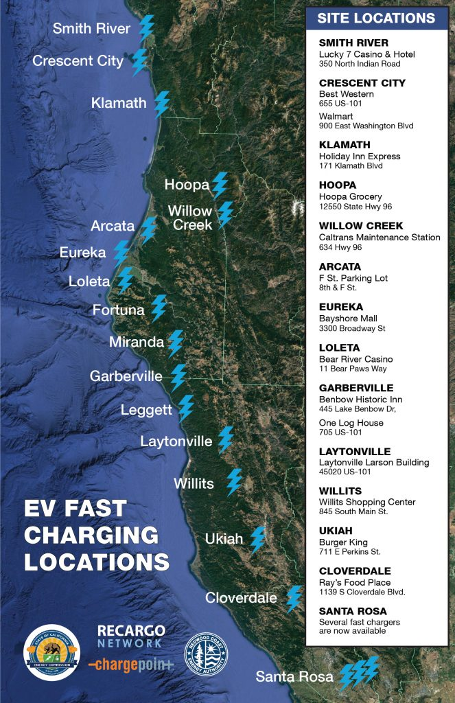 map of fast charge stations in northern California