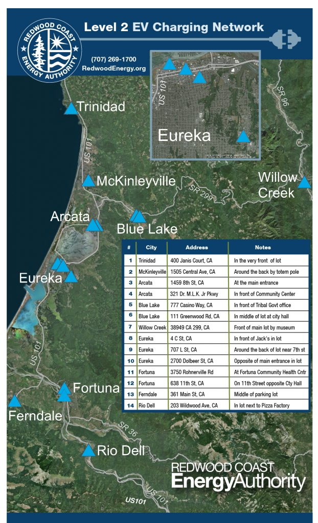 map showing level 2 charging stations in Humboldt with inset listing the addresses